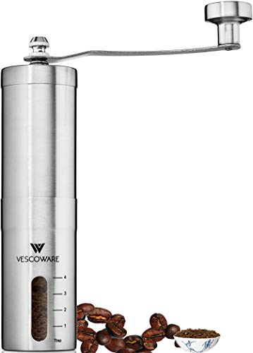 (Manual Coffee Grinder with Conical Burr - Hand Portable Bean Mill with Adjustable Settings for Espresso, French Press, Cold & Turkish Brew by Vescoware - Stainless Steel)