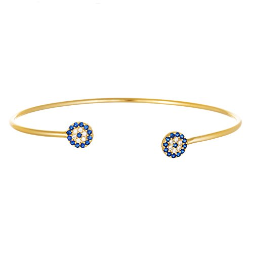 [18K White / Gold Sterling Silver Clear and Royal Blue Cubic Zirconia Evil Eye Ends Bangle (18K] (Red Skull Costume Uk)