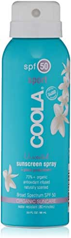 COOLA Organic Sunscreen Body Spray , SPF 50 , Certified Organic Ingredients , Farm to Face , Ultra Sheer , TSA Approved Travel Size , Continuous Spray , Water Resistant , Unscented