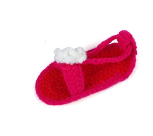 Yue Lian Baby Unisex Knit Schuhe mit Weiß Blume Perle Handgemachte Rutschfeste Strickschuhe Lauflernschuhe Rot