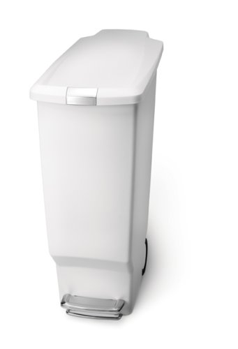amazon com simplehuman step trash can slim plastic 10 1 2 rh amazon com slim kitchen trash can with pedal slim kitchen garbage can
