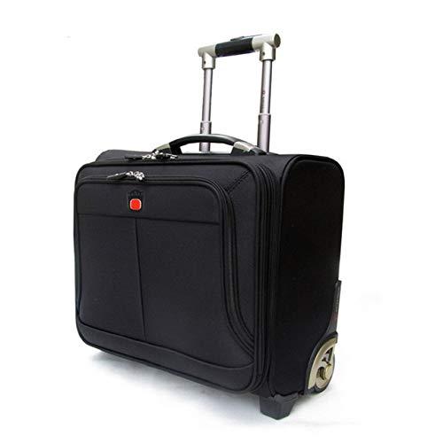 SPRINGYOU 高グレードローリング荷物キャスター男性ビジネスオックスフォードスーツケースホイール 18 インチにキャリートロリー旅行バッグラップトップバッグ 18\ ブラック B07QVX18VZ