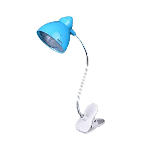 Mini Reading Lamp Clip Adjustable Book White Light 50 Lumen Battery Operated for Kids and Toddler (Blue)