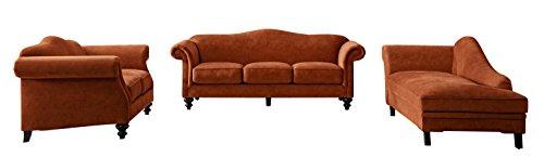 Room Vintage Living Loveseat - Acanva Mid Century Vintage Velvet Living Room Sofa Set, Tangerine