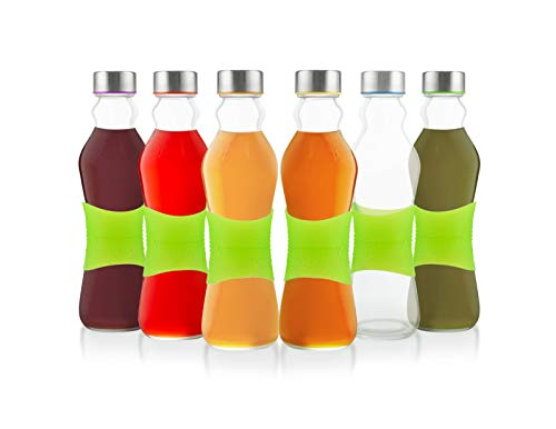 Glèur Reusable Glass Beverage Bottles, with A Green Strip of Silicone for Easy Grip, and A Stainless Steel Airtight Cap, with Different Colored Lids Silicone, 17-Oz Set of 6