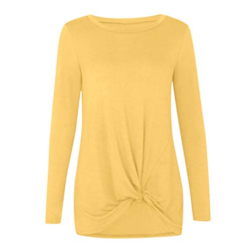 Cyhulu Little Girls 6Y-14Y Fashion Long Sleeve Casual Cotton Solid Knot Front Top Tee T-shirts Outfits Set (Yellow, L(9-10 Years))
