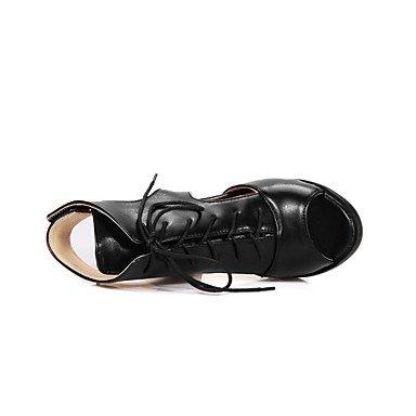 LvYuan zapatos de las sandalias gladiador del club comodidad tobillo oficina de la correa de la PU&parte de carrera&noche gancho de beige