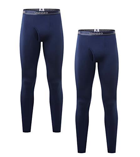 LAPASA Men's Lightweight Thermal Underwear Pants Fleece Lined Long Johns Leggings Base Layer Bottoms 2 Pack M10 (Medium, Navy) (Best Underwear In The World)