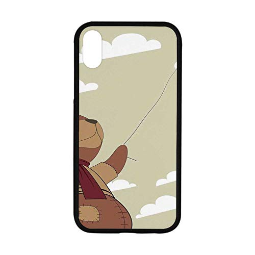 Cartoon Rubber Phone Case,A Melancholic Teddy Bear with Scarf Holding a Balloon Clouds in The Sky Clipart Compatible with iPhone XR