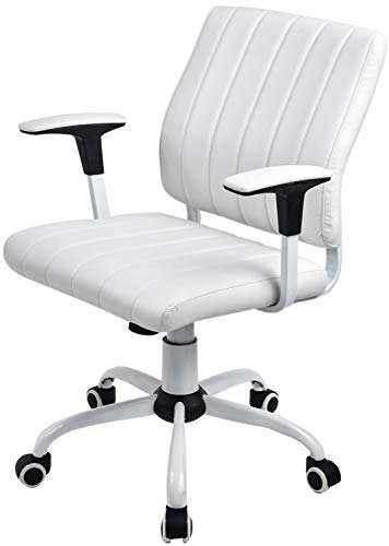 COMHOMA Mid-Back Office Swivel Chair PU Leather Upholstered Modern Executive Desk Chair Multi-Functional Adjustable Task Chair CH818 White