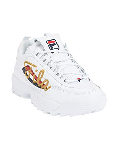 Fila Womens Disruptor II Signature Sneaker, Adult, White/Navy/Red, 10