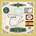 Scrapbook Customs 40088 Explore Spain Sticker Sheet 12 Inch x 12 - Spain Scrapbooking