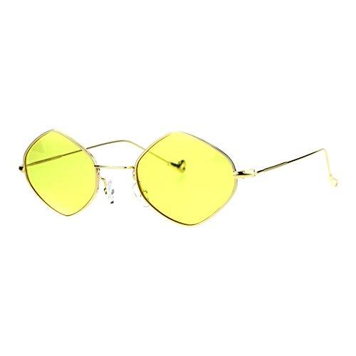 Mens Vintage Style Diamond Metal Wire Rim Snug Sunglasses Gold - Rim Vintage Wire Glasses