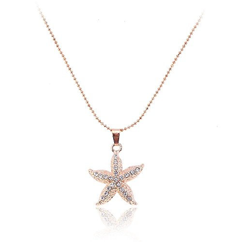 Lureme Women Pave Crystal Starfish Gold Tone Pendant Necklace Adjustable Length (Pave Starfish Pendant)