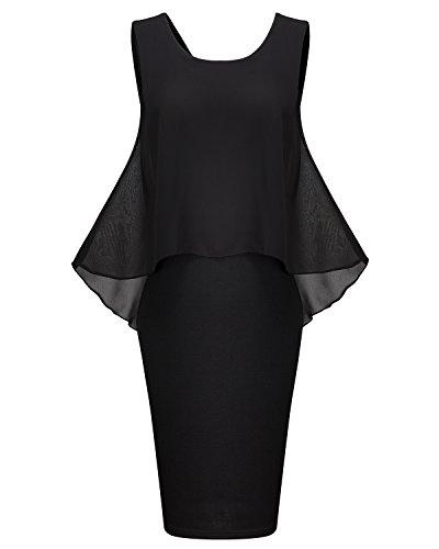 Women Summer Retro Ruffle Sleeveless Chiffon Knit Bodycon Midi Black Dress (Womens Black Knit Ruffle Dress)