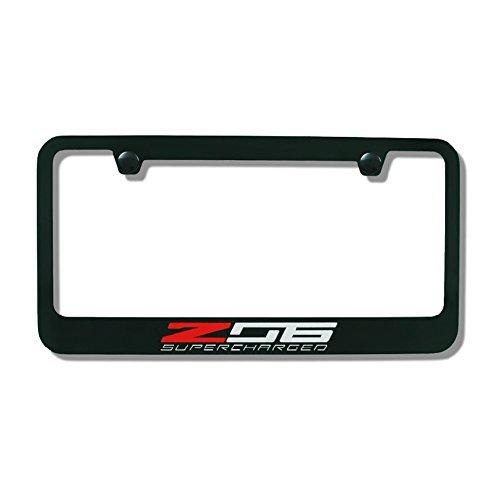 C7 Corvette Stingray Black License Plate Frame w/Z06 Supercharged Script