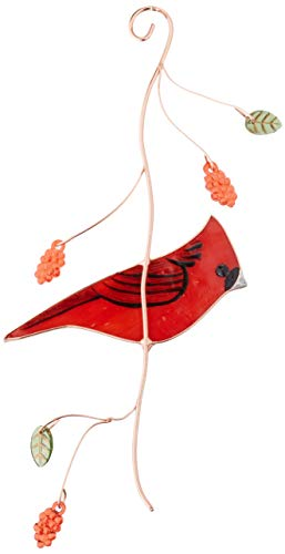 Lolitarcrafts Cute Cardinal Stained Glass suncatcher for Window Hanging