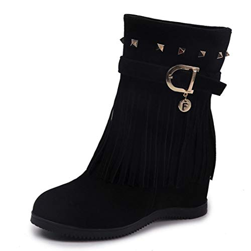 Lolittas Winter Boots Women Shoes, Suede Mid Ankle Martin Steel Toe Riding High Block Heel Platform Gothic Lace Up Capped Insoles Size 3-7 Black