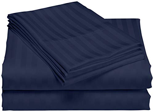 Waterbed Sheets California King Size 600 Thread Count 100% Cotton 4 Peice 15 Inches Deep Pocket Attached Waterbed Sheet Set in Stripe (Navy Blue, California King)