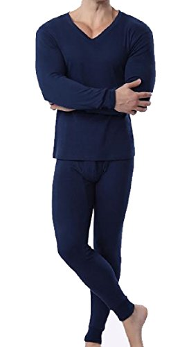 Abetteric Men 100% Cotton Extra Soft Mid Weight Thermal Union Suit Sapphire Blue 2XL