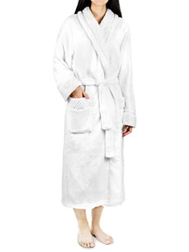 Deluxe Women Fleece Robe with Satin Trim   Luxurious Plush Spa Bathrobe Waffle Design White