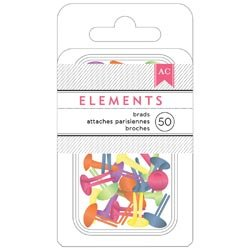 Bulk Buy: American Crafts  Elements Brads .1875in. 50/Pkg Br