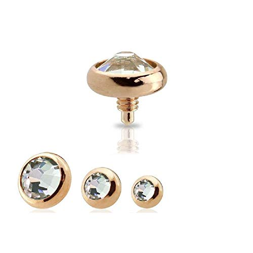 Freedom Fashion Rose Gold 316L Surgical Steel Dermal Anchor Internally Threaded Clear Gem (Sold by Piece) (14GA, 2mm) (Rose Gold Anchor Jewelry)