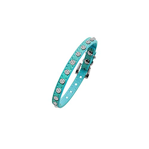 AIRGOOD Soft Cow Suede and Sparkling Rhinestone Crystal Diamante Dog Collar with Adjustable Clasp For Cat Dog Small Pets(XXS)