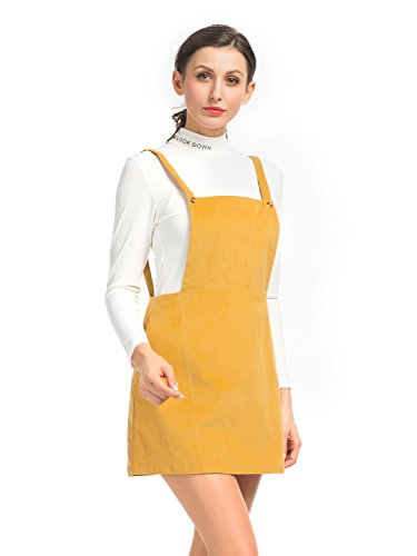 ff484b251d0 Clothink Women Yellow Corduroy Suspender Skirt Overall Mini Dress at Amazon Women s  Clothing store