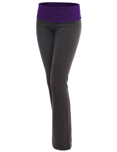 Doublju Women Unique Designed Foldover Waistband Fitted Plus Size Yoga Pants PURPLE,2XL