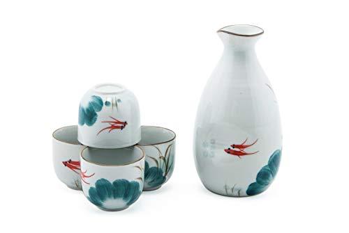 (Fuji Merchandise Japanese Goldfish Pair Design Pottery Sake Set with 10 fl oz Tokkuri Bottle and Four 2 fl oz Ochoko Cups Gift Set Made In China)