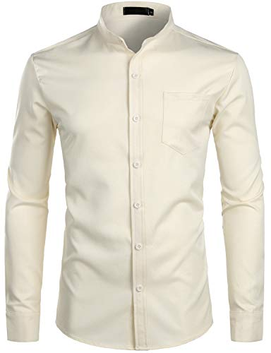 ZEROYAA Men's Banded Collar Slim Fit Long Sleeve Casual Button Down Dress Shirts with Pocket ZLCL09 Beige - Casual Beige Shirt