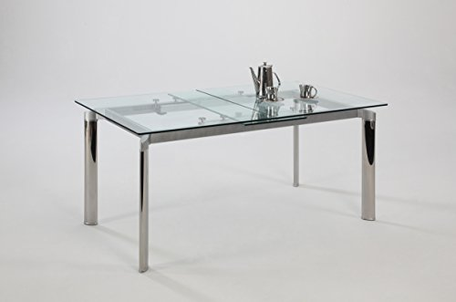 (Chintaly Imports Pop-up Extension Glass Dining Table, Stainless)