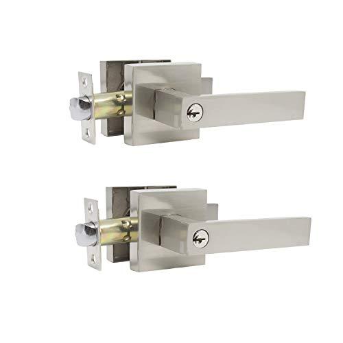 2 Pack Probrico Interior Bedroom Entrance Door Lever Doorknobs Door Lock One Keyway Entry Keyed Alike Same Key Entrance Lockset in Satin Nickel Each with 3 Keys