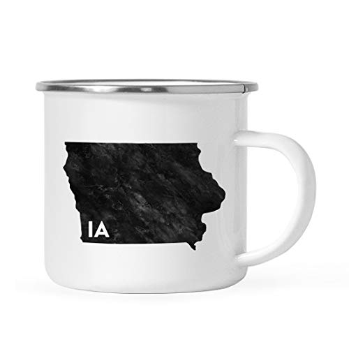 Andaz Press 11oz. US State Stainless Steel Campfire Coffee Mug Gift, Modern Black Grunge Abbreviation, Iowa, 1-Pack, Metal Enamel Camping Camp Cup for Him Her Christmas Hostess Long Distance