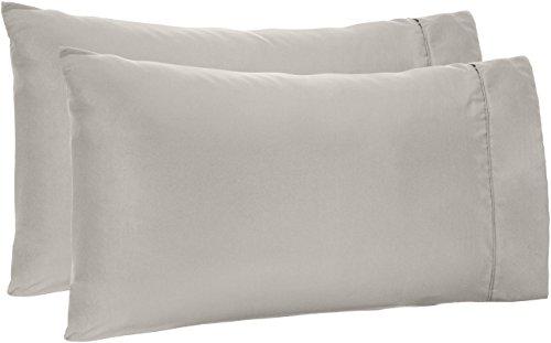 AmazonBasics Microfiber Pillowcases, Set of 2, Standard, Light Grey ()