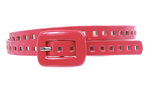 (5/8 Inch Wide Patent Skinny Leather Belt Size: M/L - 36 Color: Red)