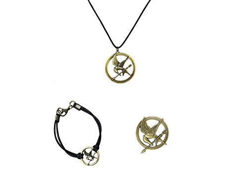fashion quake The Hunger Games Mockingjay Prop Rep Pin +Necklace On Leather Cord+Bracelet Cord