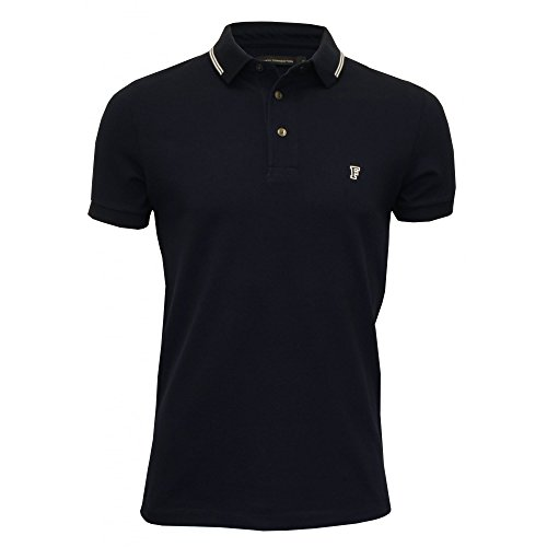 French Connection Men's Tipped Pique Polo Shirt, Navy Medium Navy
