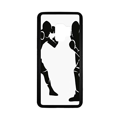 Sports Rubber Phone Case,Black Silhouettes of Professional Boxers Fighters Combative Exercise Punch Attack Decorative Compatible with Samsung Galaxy S9,One Size