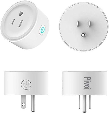 Pivoi Smart Plug Alexa Google Compatible Mini Socket 4 Pack, WiFi, Voice Control, Schedules and Timers, Remote Control with Alexa, Google, and Smart Life App