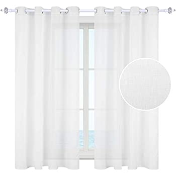 """HOMEIDEAS Rich Natural Linen Sheer Curtains Window Curtain Panels Grommet Panels for Living Room (Set of 2, 52"""" W x 84"""" L,White)"""