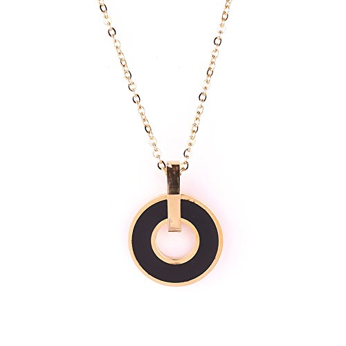 Stylish Rose Gold Tone Designer Necklace with Jet Black Faux Onyx Circular Pendant (Contemporary Faux Necklace)