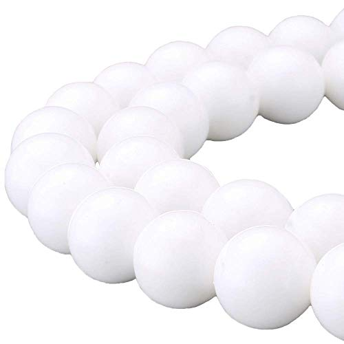 JARTC 7A Natural Deep Sea White Shells Round Stone Beads for Jewelry Making DIY Bracelet Necklace (8mm)
