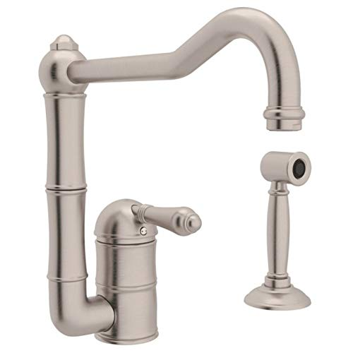 (Rohl A3608LMWSSTN-2 Single Handle Column Spout Kitchen Faucet with Sidespray, Satin Nickel)