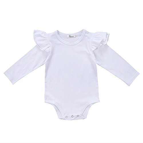 Mother's Angel Girl Infant Baby Onesies Stylish Baby Cotton White Romper (12-18 Months, Long White) ()