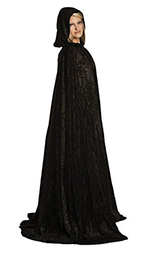Full Length Cloak/Cape with Hood for Adults (Black)