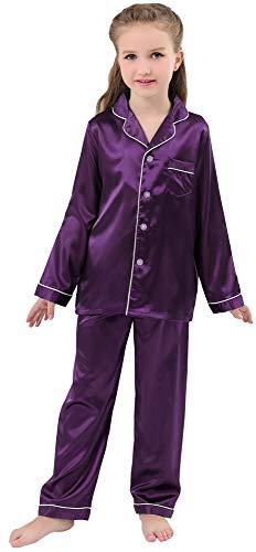 JOYTTON Kids Satin Pajamas Set PJS Long Sleeve Sleepwear Loungewear Purple ()
