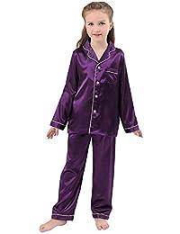JOYTTON Kids Satin Pajamas Set PJS Long Sleeve Button-Down Sleepwear  Loungewear 8b5ab49b0