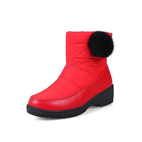 Red 8 US Red 8 US Women's Fashion Boots PU(Polyurethane)   Synthetics Winter Boots Chunky Heel Round Toe Booties Ankle Boots White Black   Red Party & Evening